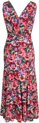 Dolce & Gabbana Sleeveless V-Neck Floral Print Midi Dress