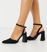 Co Wren Wide Fit pointed block heels in black with ankle strap
