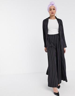 Verona maxi duster jacket in stripe two-piece