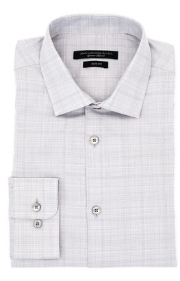 John Varvatos Plaid Print Slim Fit Dress Shirt