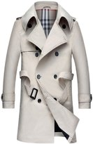 ChouyatouMen's Classic Fit Double Breasted Belted Midi Length Trench Coats