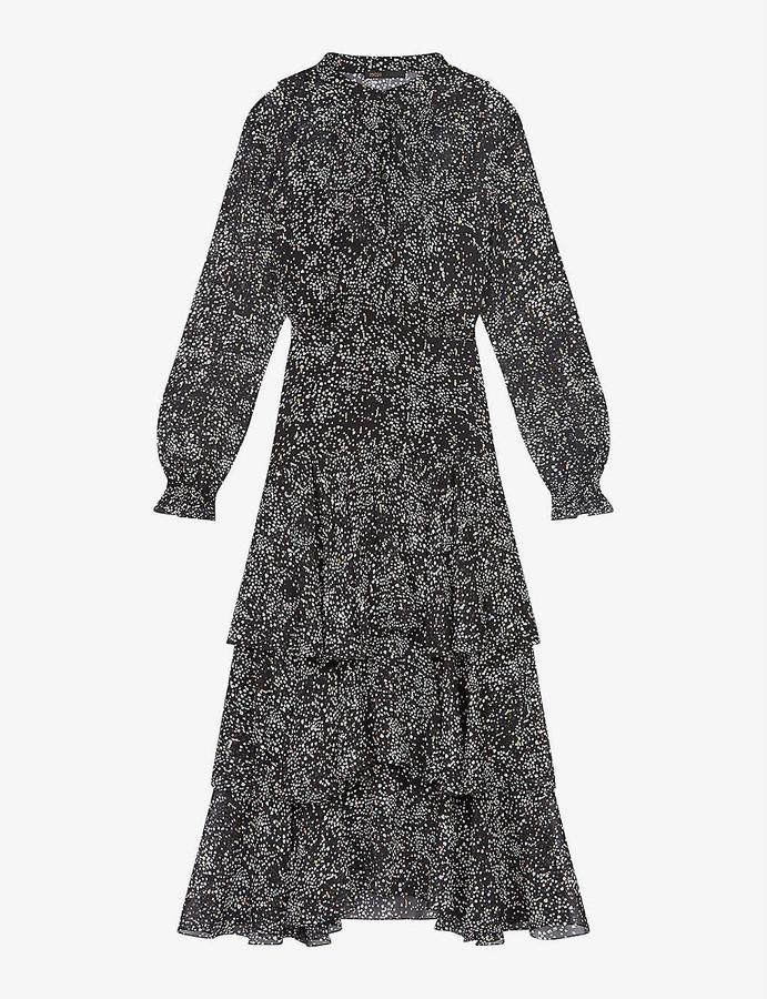 Maje Ruffo dot-print silk-blend maxi dress