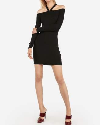 Express Ribbed Strappy V-Neck Off The Shoulder Mini Dress