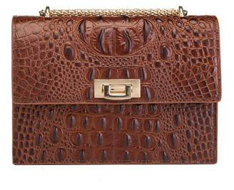 Vicenzo Leather Tauren Croc Embossed Leather Drop Chain Clutch