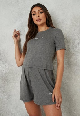 Missguided Gray Script Maternity Top And Pyjama Shorts Set