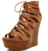 Allegra K Woman Lace-Up Cutout Open Toe Wedge Sandals