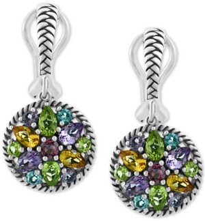 Effy Multi-Gemstone Cluster Drop Earrings (3-7/8 ct. t.w.) in Sterling Silver