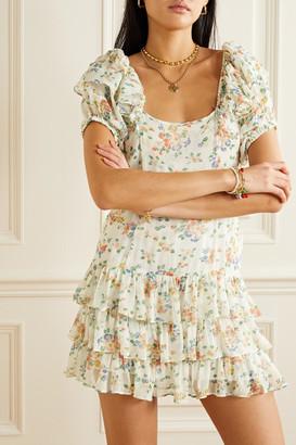 LoveShackFancy Kimbra Tiered Floral-print Silk-chiffon Mini Dress - Off-white