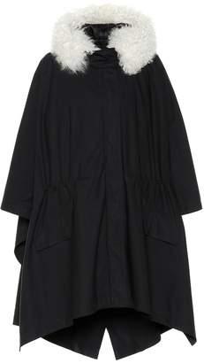 Yves Salomon Shearling-trimmed cape coat
