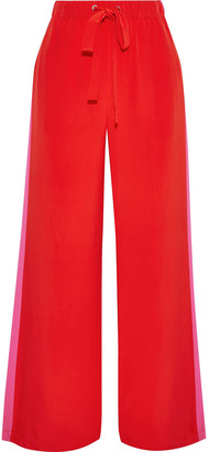 Diane von Furstenberg Ellington Striped Silk Crepe De Chine Wide-leg Pants