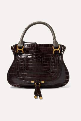 Chloé Marcie Large Croc-effect Leather Shoulder Bag - Dark brown