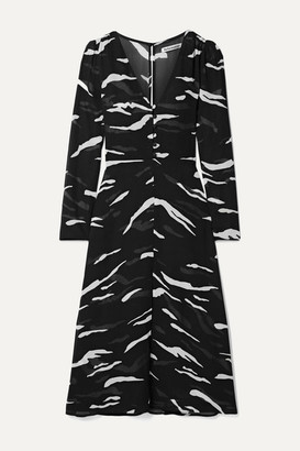 Reformation Orchard Printed Georgette Midi Dress - Black