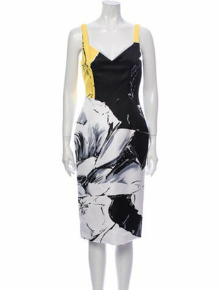 Prabal Gurung Printed Midi Length Dress w/ Tags Yellow