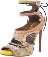 Embroidered Ankle-Strap Platform Sandal