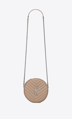 Saint Laurent Vinyle Round Camera Bag In Chevron-quilted Grain De Poudre Embossed Leather Gold Sand Onesize