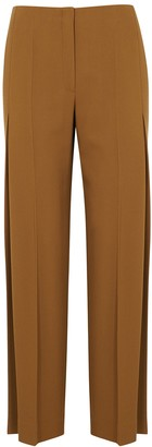 The Row Alexa brown wide-leg wool trousers