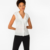 Paul Smith Women's White Sleeveless Silk Top With Ruffle Front