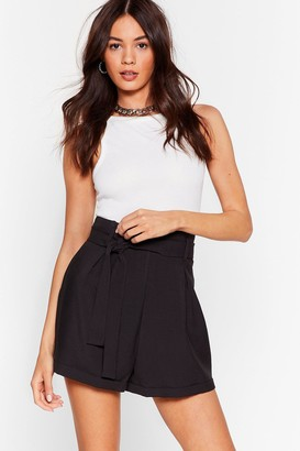 Nasty Gal Womens The Belt of Me High-Waisted Shorts - Black - 4