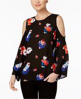 Vince Camuto Floral-Print Cold-Shoulder Top