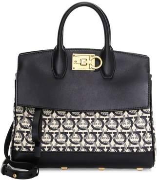 Salvatore Ferragamo Mini Studio Gancini Jacquard Canvas & Leather Top Handle Bag