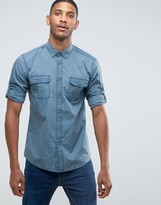 Benetton Regular Fit Long Sleeve Military Shirt with Button Down Collar and Rollback Sleeve Detail