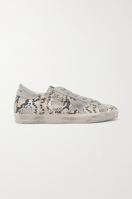 Golden Goose Superstar Distressed Snake-effect Leather And Suede Sneakers - Snake print