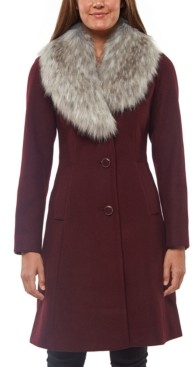 Kate Spade Faux-Fur-Collar Skirted Coat