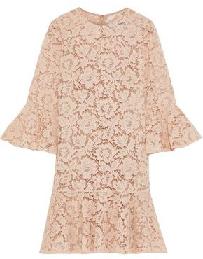 Valentino Fluted Cotton-blend Corded Lace Mini Dress