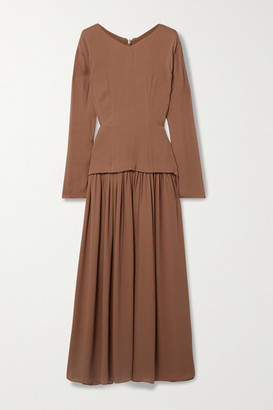 TOVE Etienne Silk-crepon And Pleated Georgette Maxi Dress - Brick