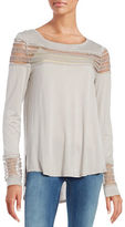 Free People Roxie Mesh Accented Top