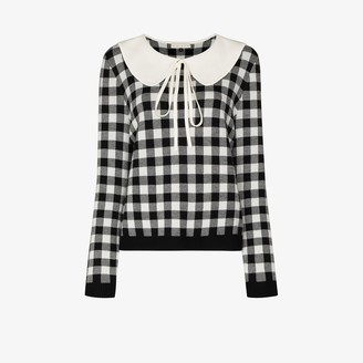 USISI SISTER Ellie oversized collar checked sweater