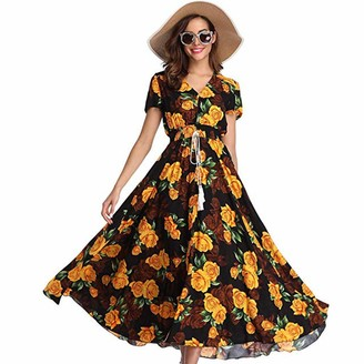 Rovinci Women's Dress Sexy Women Maxi Dress Rovinci V Neck Floral Printing Short Sleeve Summer Beach Long Slip Dress Boho Button Up Split Flowy Party Maxi Dress Bohemian Vintage Elegant Cocktail Dress for Girls Ladies