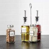 Crate & Barrel Oil, Vinegar, Parmesan & Pepper Bottles Set of Four