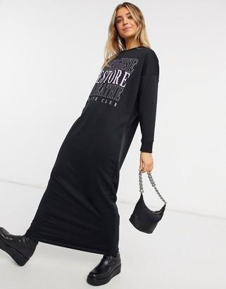 ASOS DESIGN long sleeve maxi t-shirt dress with purple wellness logo in black