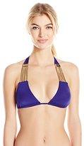 Beach Bunny Women's Take the Reins Triangle Bikini Top with Gold Herringbone Chains