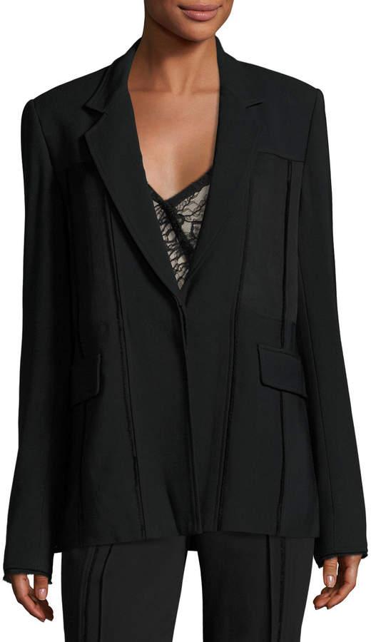 Jason Wu Seamed One-Button Jacket, Black