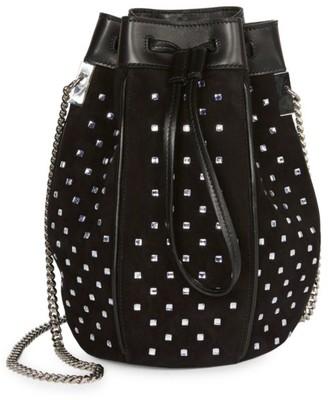 Saint Laurent Talitha Crystal-Embellished Suede Bucket Bag