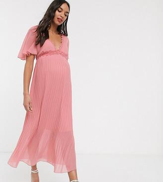 Little Mistress Maternity lace insert pleat midi dress in pink