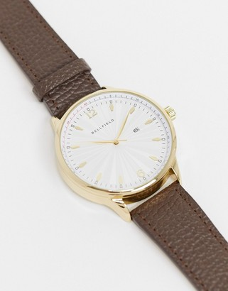 Bellfield watch with leather brown stap and gold dial