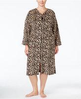 Miss Elaine Plus Size Plush Fleece Zip-Front Robe