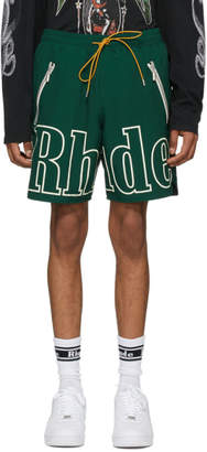 Rhude Green Oversized Logo Shorts