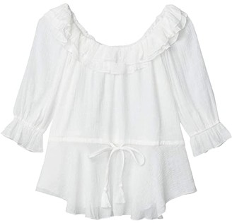 American Rose Paola Off-the-Shoulder Top with Ruffles (White) Women's Clothing