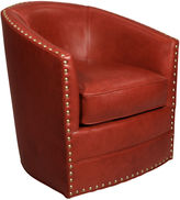 Horchow Bryn St. Clair Red Leather Swivel Chair