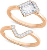 Swarovski Rose Gold-Tone 2-Pc. Set Crystal Rings