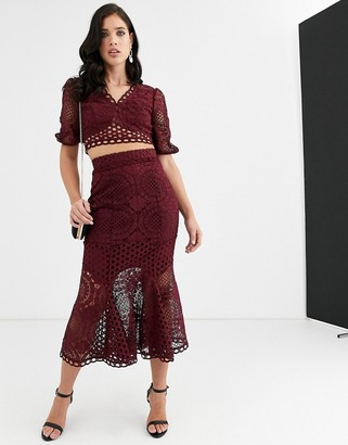 Asos Design DESIGN patch lace skirt co-ord