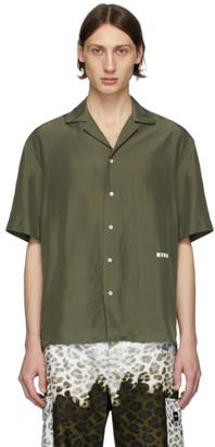 MSGM Green Silk Logo Shirt