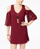 Amy Byer Juniors' Cold-Shoulder Shift Dress with Necklace