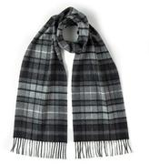 Johnstons of Elgin Cashmere Grey Buchanan Plaid Scarf