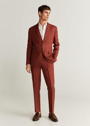MANGO MAN - Slim fit linen suit pants cherry - 26 - Men