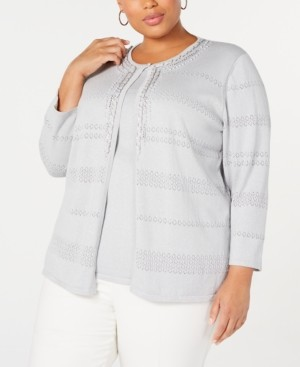 Alfred Dunner Plus Size Boardroom Metallic Embellished Layered-Look Sweater